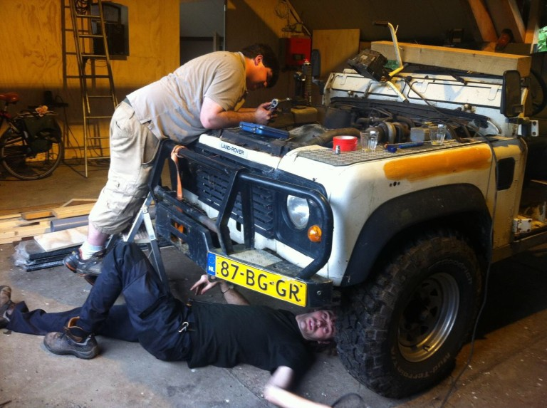 Working on the Land Rover